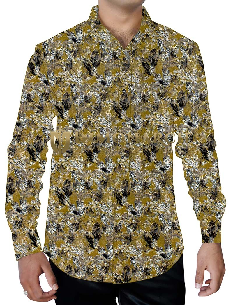 Mens Olive Drab Printed Shirt Long Sleeves Floral Pattern