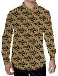 Mens Tan Printed Shirt Floral Pattern Beach Style