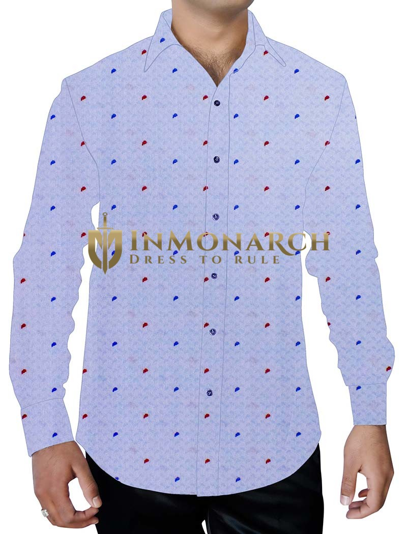 Mens Lavender Printed Shirt Red and Blue Polka Dots