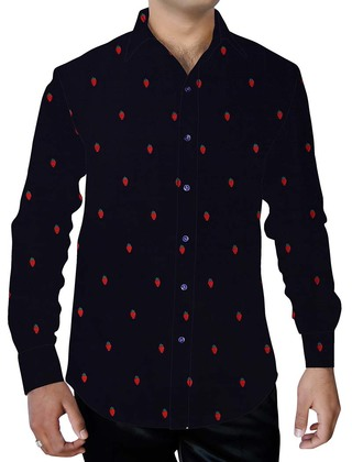 Mens Dark Navy Cherry Printed Shirt Hawaiian Style
