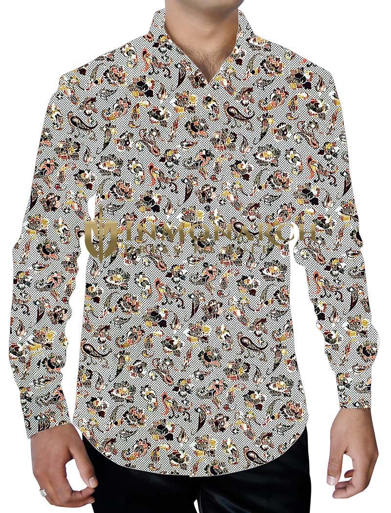 Mens Natural Printed Shirt Paisley Pattern Button Down