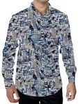 Mens Natural Printed Shirt Button Down Beachwear