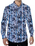 Mens Sky-blue Printed Shirt Button Down Floral Designs