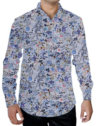 Mens Lavender Printed Shirt Regular Fit Floral Designs