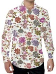 Mens White Printed Shirt Regular Fit Summer Style