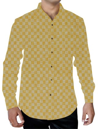 Mens Yellow Printed Checks Shirt Regular Fit Hawaiian