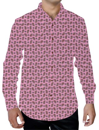 Mens Pink Printed Paisley Pattern Shirt Long Sleeves
