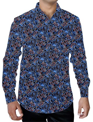 Mens Steel Blue Printed Cotton Shirt Long Sleeves Beachwear