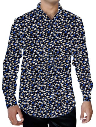 Mens Black Printed Cotton Shirt Button Down Partywear