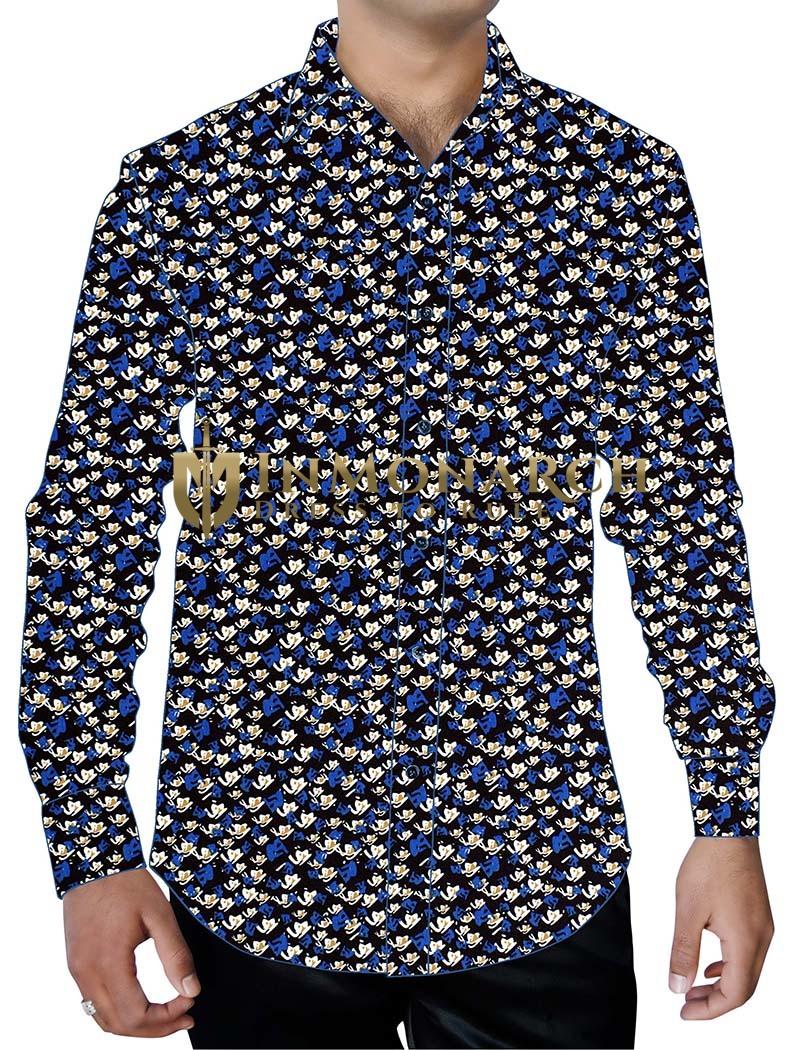 Mens Black Printed Cotton Shirt Button Down Partywear