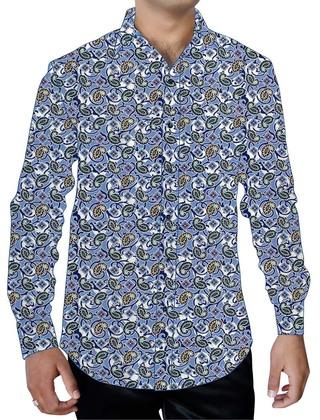 Mens Sky Blue Printed Cotton Shirt Paisley Pattern