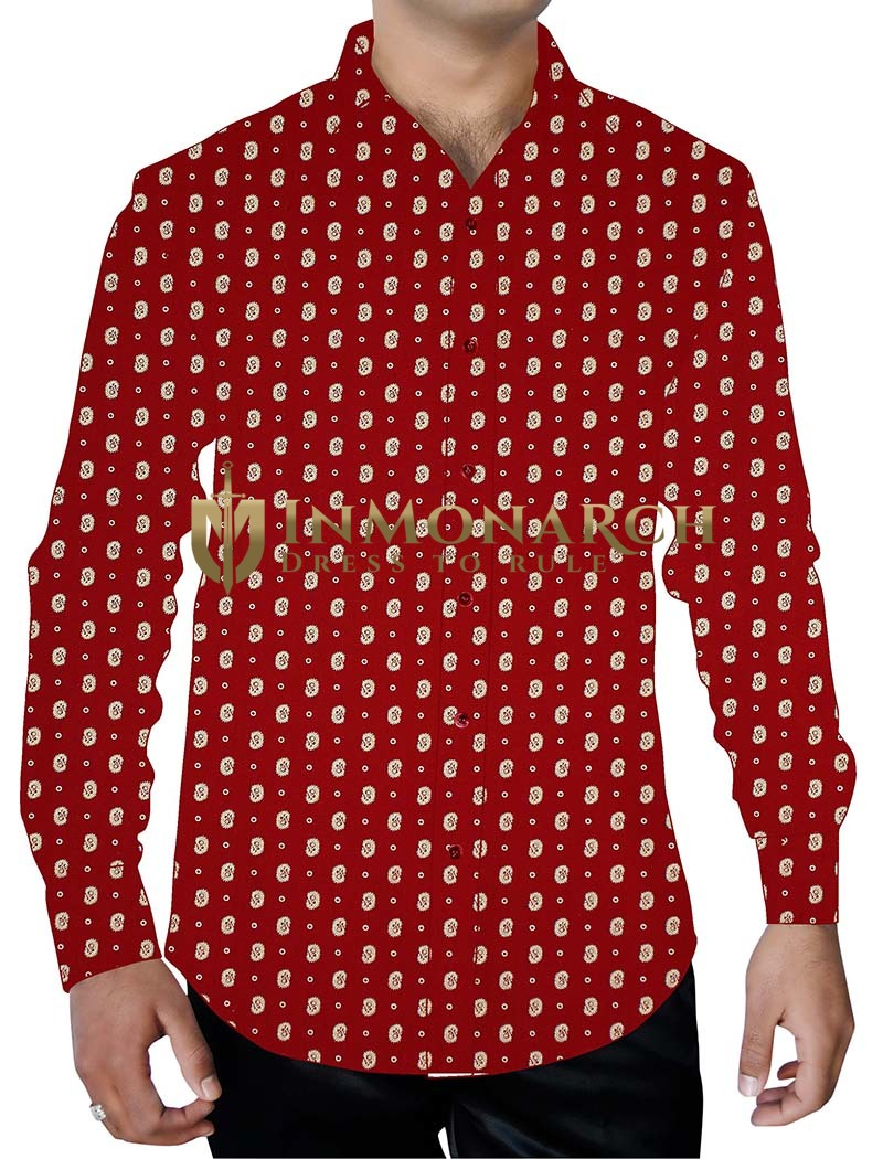 Mens Maroon Printed Cotton Shirt Long Sleeves