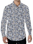Mens Lavender Printed Cotton Shirt Button Down Casual
