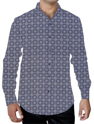 Mens Blue Printed Cotton Shirt Summer Wedding