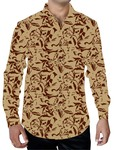 Mens Bisque Printed Cotton Shirt Collared Hawaiian Style