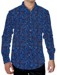 Mens Steel Blue Printed Cotton Shirt Button Up Formal