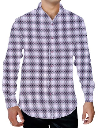 Mens White Printed Cotton Shirt Formal Long Sleeves
