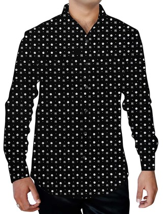 Mens Black Printed Cotton Shirt Polka White Dot