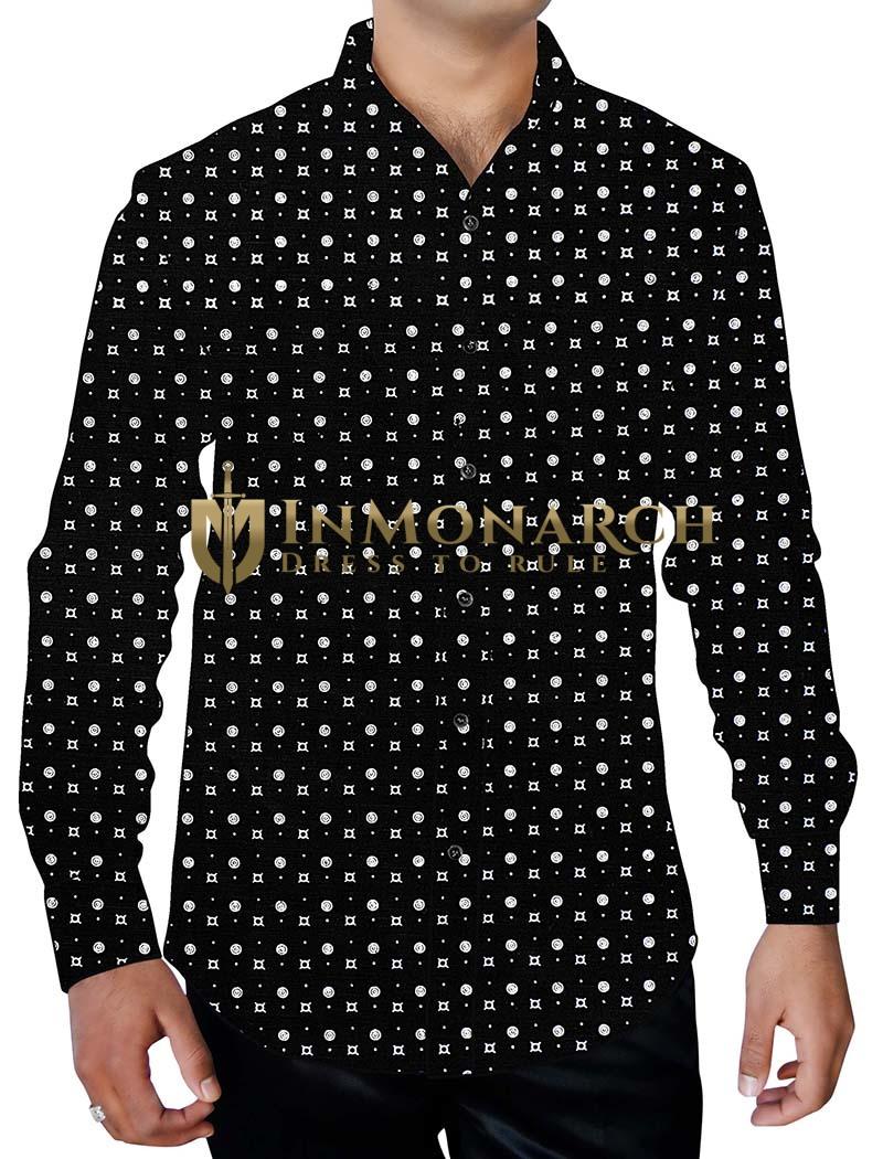 Mens Black Printed Cotton Shirt Polka White Dot