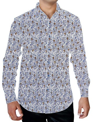 Mens White Printed Cotton Shirt Paisley Pattern