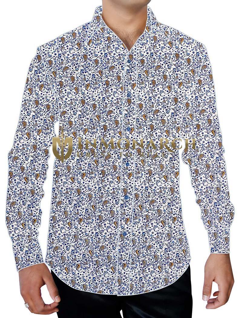 Mens White Printed Cotton Shirt Paisley Pattern