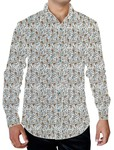 Mens White Printed Cotton Dress Shirt Paisley Pattern