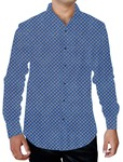 Mens Steel Blue Printed Cotton Shirt Beach Menswear