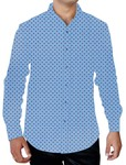 Mens Steel Blue Printed Cotton Shirt Classic Summer