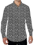 Mens Gray Printed Cotton Shirt Geometric Design
