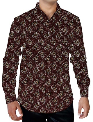 Mens Wine Printed Shirt Paisley Pattern Long Sleeve