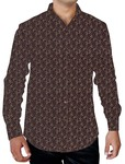 Mens Burgundy Printed Shirt Floral Design Formal