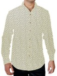 Mens Ivory Printed Cotton Shirt Long Sleeve Formal