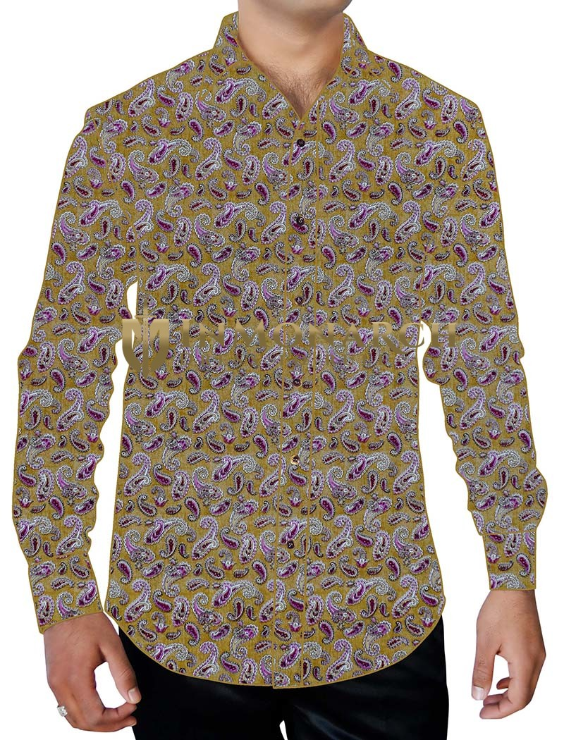 Mens Olive Drab Printed Cotton Shirt Formal Paisley