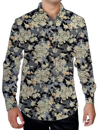 Mens Gray Printed Cotton Floral Dress Shirt