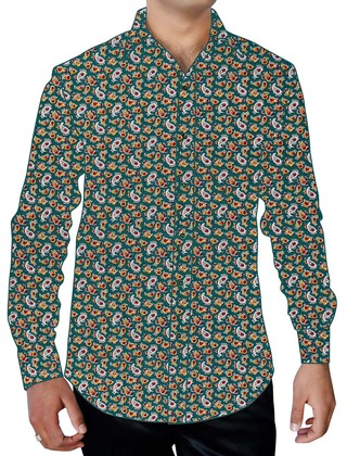 Mens Teal Printed Cotton Dress Shirt Long Sleeves