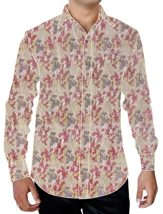 Mens Ivory Floral Print Cotton Dress Shirt Button Up