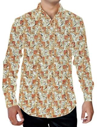 Mens Bisque Printed Cotton Dress Shirt Hawaiian
