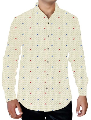 Mens Ivory Printed Cotton Dress Shirt Polka Dot