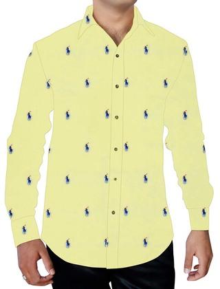 Mens Yellow Printed Cotton Shirt Polo Rider Design