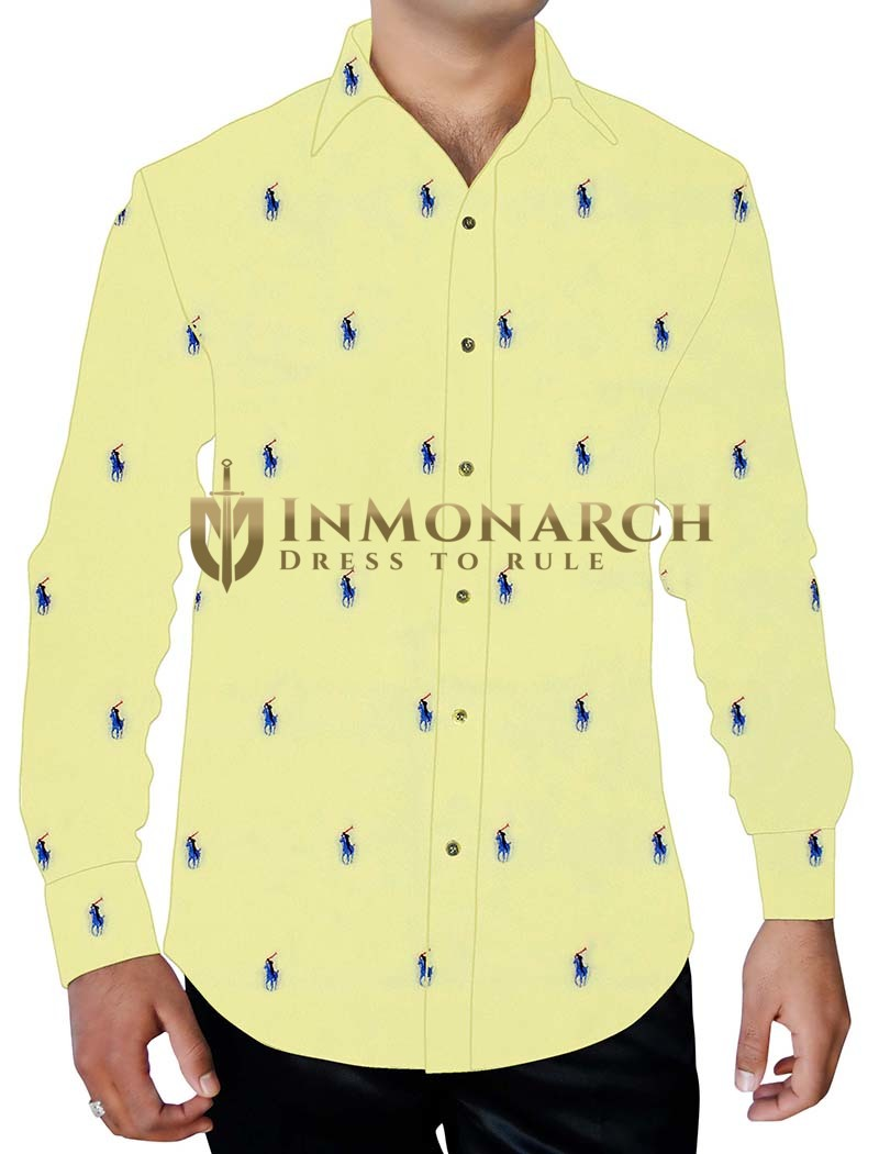 Mens Yellow Printed Cotton Shirt Polo Rider Design