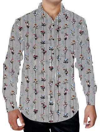 Mens White Printed Cotton Shirt Lining Flower Pattern