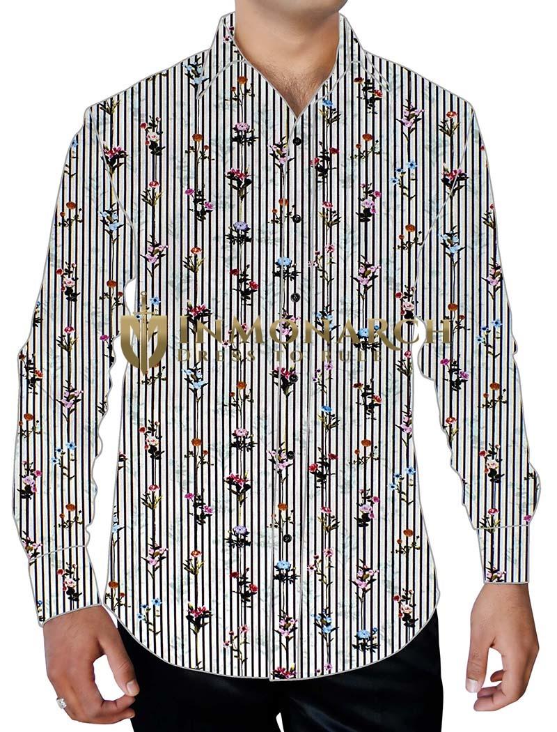 Mens White Printed Cotton Shirt Lining Flower Pattern