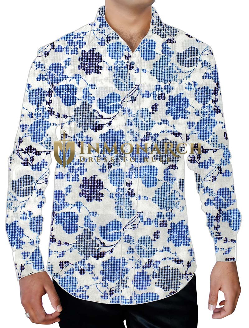 Mens White With Blue Floral Printed Cotton Shirt Hawaiian