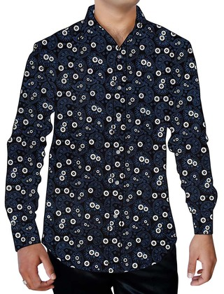Mens Navy Blue Printed Cotton Shirt Paisley Design Button Up