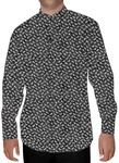 Mens Black Printed Cotton Nehru Collar Shirt Long Sleeve