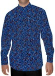 Mens Steel Blue Nehru Shirt Printed Cotton