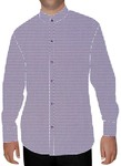 Mens White Printed Nehru Collar Shirt Purple Desh
