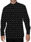 Mens Black Cotton Nehru Shirt White Polka Printed