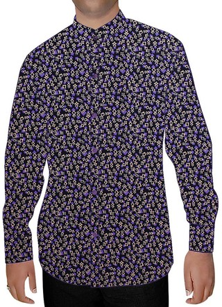 Mens Black Nehru Shirt Printed Purple and White Box Design