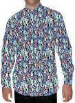 Mens Blue Printed Cotton Nehru Shirt Regular Fit